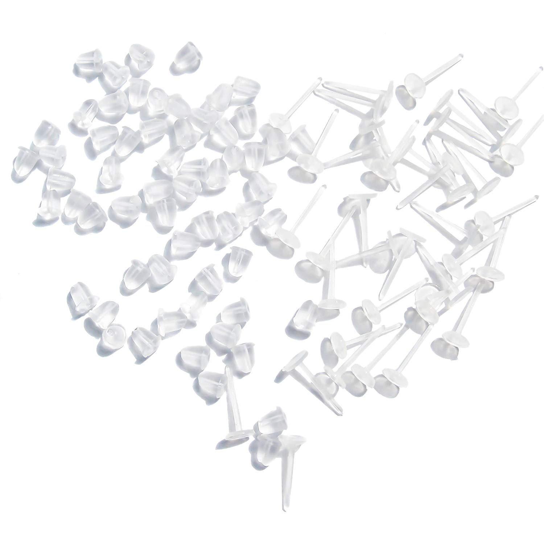 TOAOB 100pcs Earring Stud Settings Earnuts 3mm Cupped Allergy Free Clear Ear Pins Plastic xerg0031