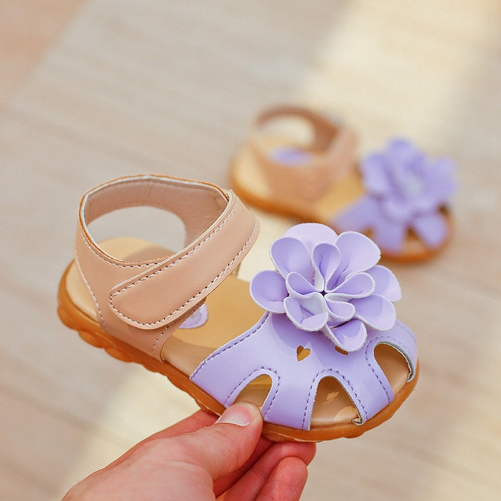 Pink CYBLING Girls Summer Sandals Soft Closed Toe Solid Flower Princess Flat Shoes Toddler//Little Kid