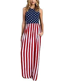 4b8c63f2c5f KUFV Womens Sleeveless USA American Flag Print Strips Summer Casual Long  Maxi Dress