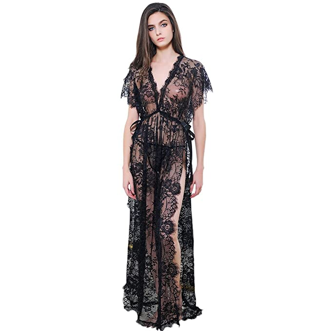 da017509f2 Image Unavailable. Image not available for. Color  Sexy Women Lace Lingerie  Nightwear Bridesmaid Hollow Out Long Gown Robe Deep V Dress ...