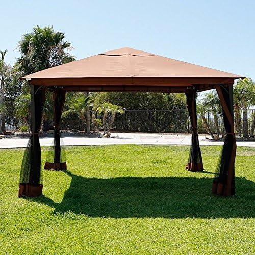 XtremepowerUS 10 x 12 Metal patio Gazebo toldo Opt W/Mosquito ...