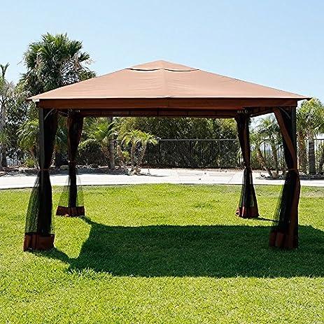 XtremepowerUS 10u0027 X 12u0027 Metal Patio Gazebo Canopy Opt W/ Mosquito ...