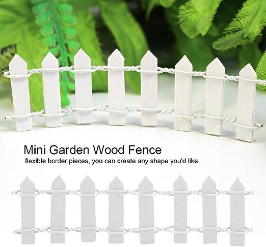 Cercado de jardín - Decoración de jardín Mini Cerca de Madera, Barrera para macetas, para Adornos en Miniatura, 100 Piezas (Color : Blanco): Amazon.es: Hogar