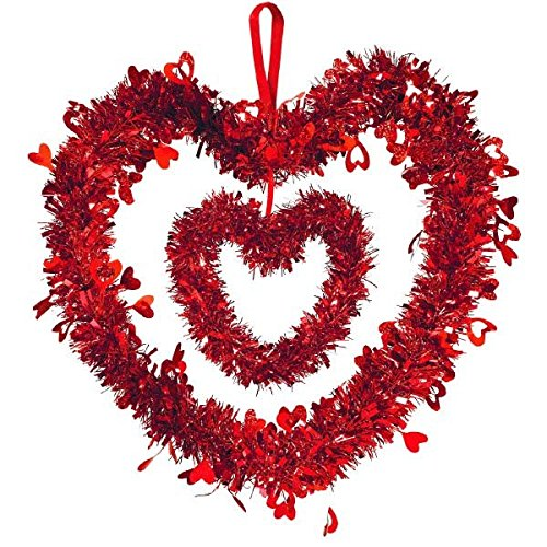 Amscan 241285 Double Heart w/Ribbon Hanger Tinsel Decoration, 12 x 12 inches, Red (Door Valentines Hanger)