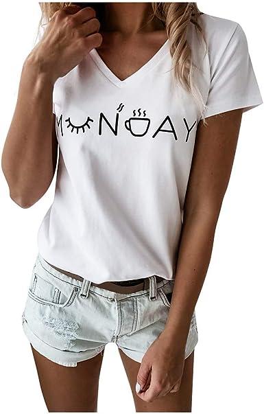 FAMILIZO Camisetas Mujer Originales Manga Corta Camisetas Mujer Manga Corta Blouse For Women Camisetas Mujer Verano Blusa Mujer Sport Tops Mujer Verano T Shirt Woman Camiseta Blanca Mujer: Amazon.es: Ropa y accesorios