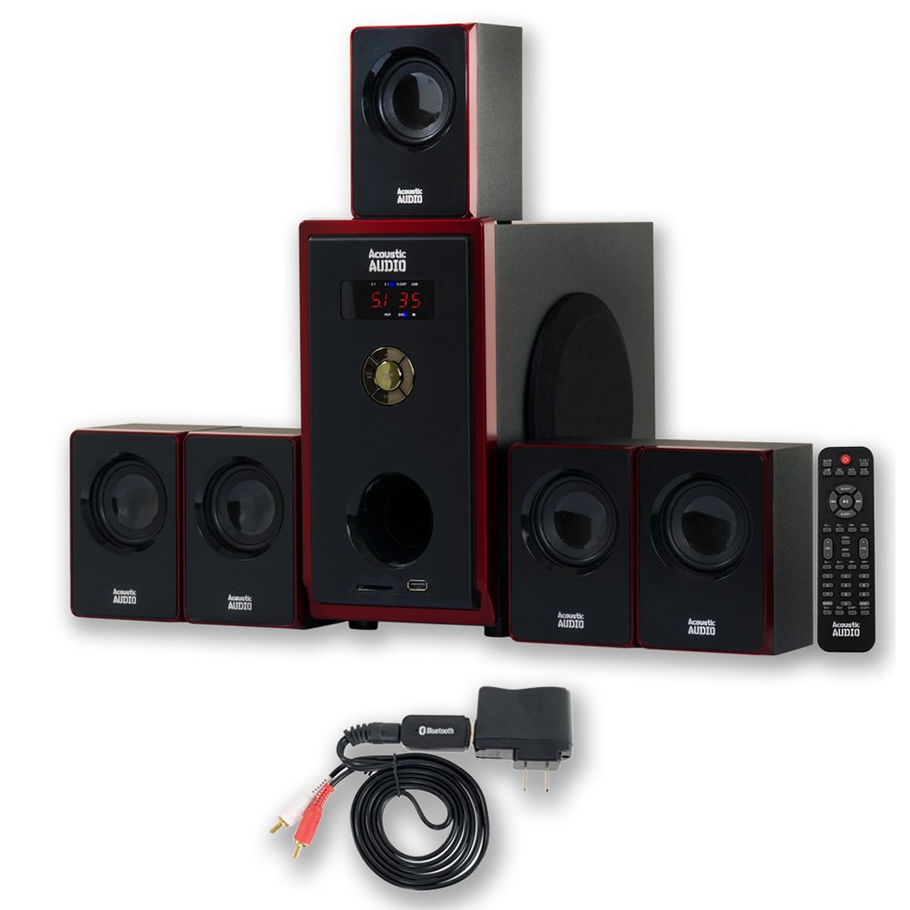 Acoustic Audio AA5103 800W 5.1 Channel Home Theater Surround Sound Speaker System with Bluetooth AA5103B