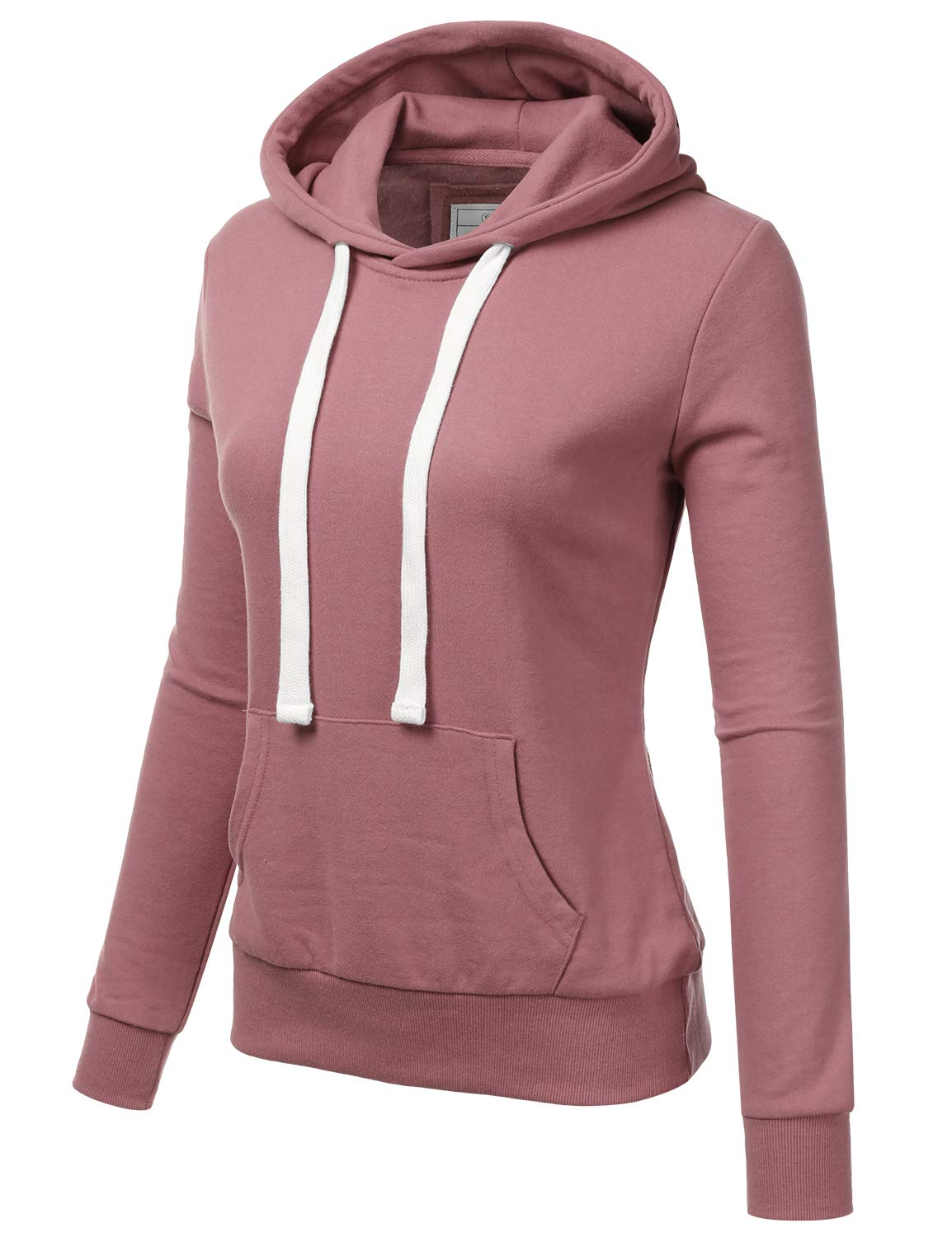 Doublju Basic Lightweight Pullover Hoodie Sweatshirt for Women