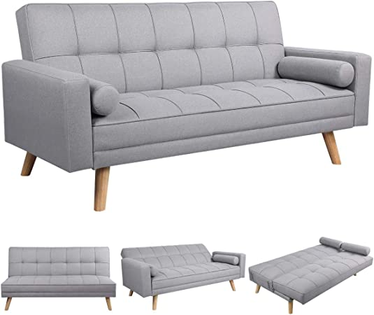 Yaheetech 3 Seater Fabric Sofa Bed Click Clack Modern
