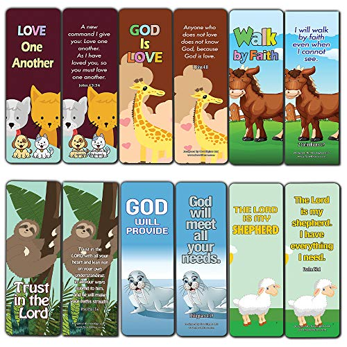 Encouraging Bible Verses Bookmarks for Kids (12-Pack) - Animal Series 2 - Perfect Way to Help Kids Learn New Scriptures