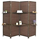 MyGift Deluxe Woven Brown Bamboo 4 Panel Folding Room Divider Screen w/Removable Storage Shelves Review