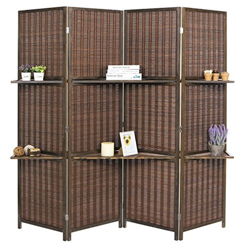 - MyGift Deluxe Woven Brown Bamboo 4 Panel Folding Room Divider Screen w/Removable Storage Shelves