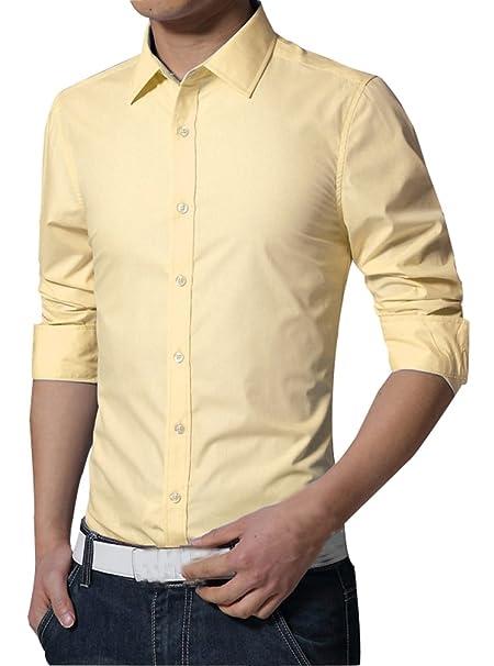 Camisas Hombre Slim Fit Básica Manga Larga Moda Camisa Casual Cuello Color Puro Formales Vestir Shirt