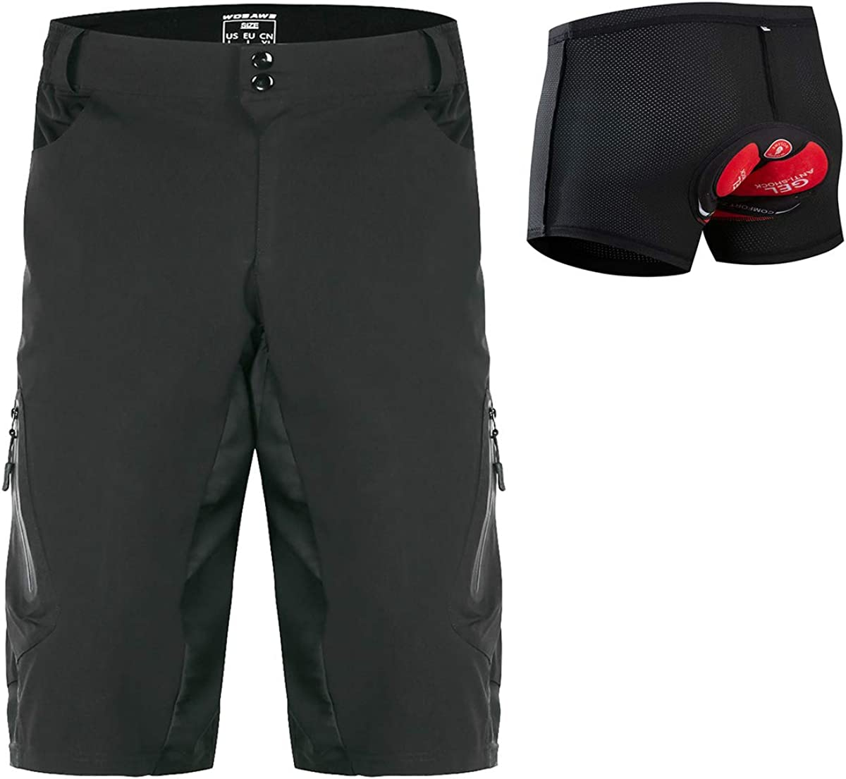 WOSAWE Men/'s Cycling Shorts Riding Bicycle 3D Padded MTB Bike Half Pants Black