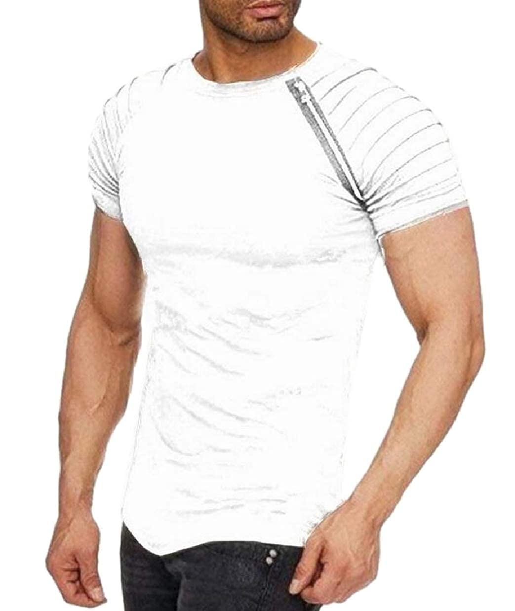 ZXFHZS Mens Zip-Up Solid Striped Raglan Sleeves Lounge Frill Top Shirt