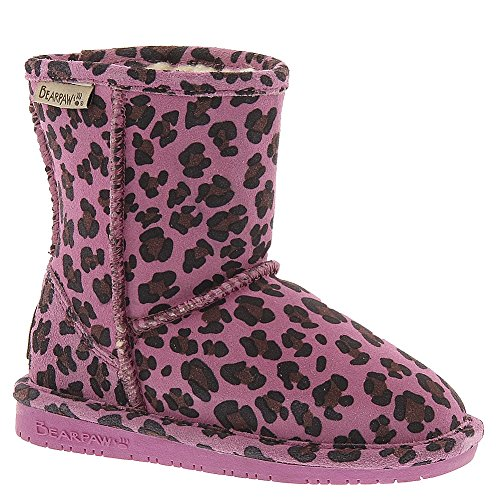 Bearpaw Girls Emma Snow Boots, Pink Suede, Rubber, 10 Toddle