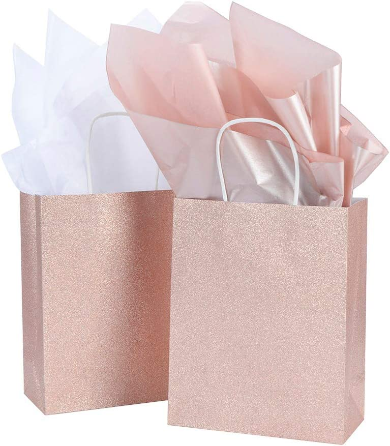 "UNIQOOO 12 Pack 9.5"" Rose Gold Pink Glitter Kraft Paper Gift Bags for Wedding 
