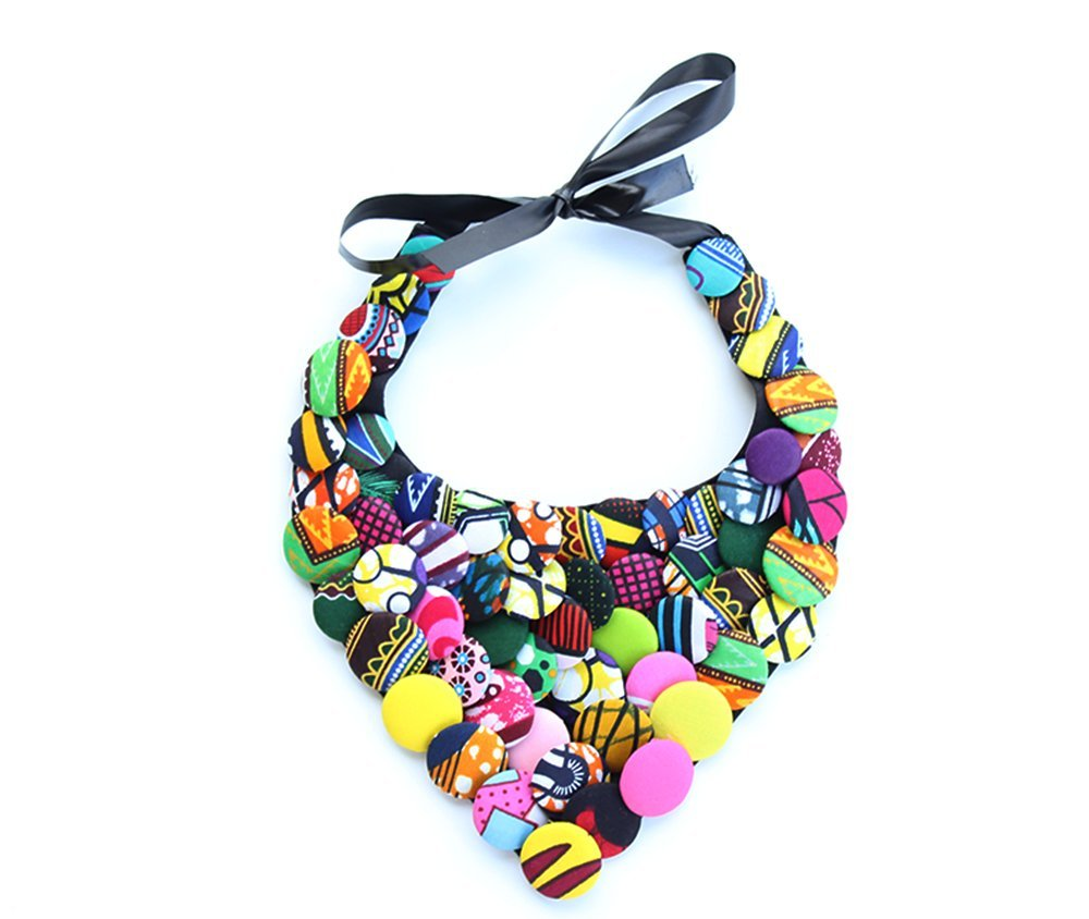 statement N bright color neckalce bib necklace ankara piece lace necklace Multicolored necklace gift for her twisted fabric necklace