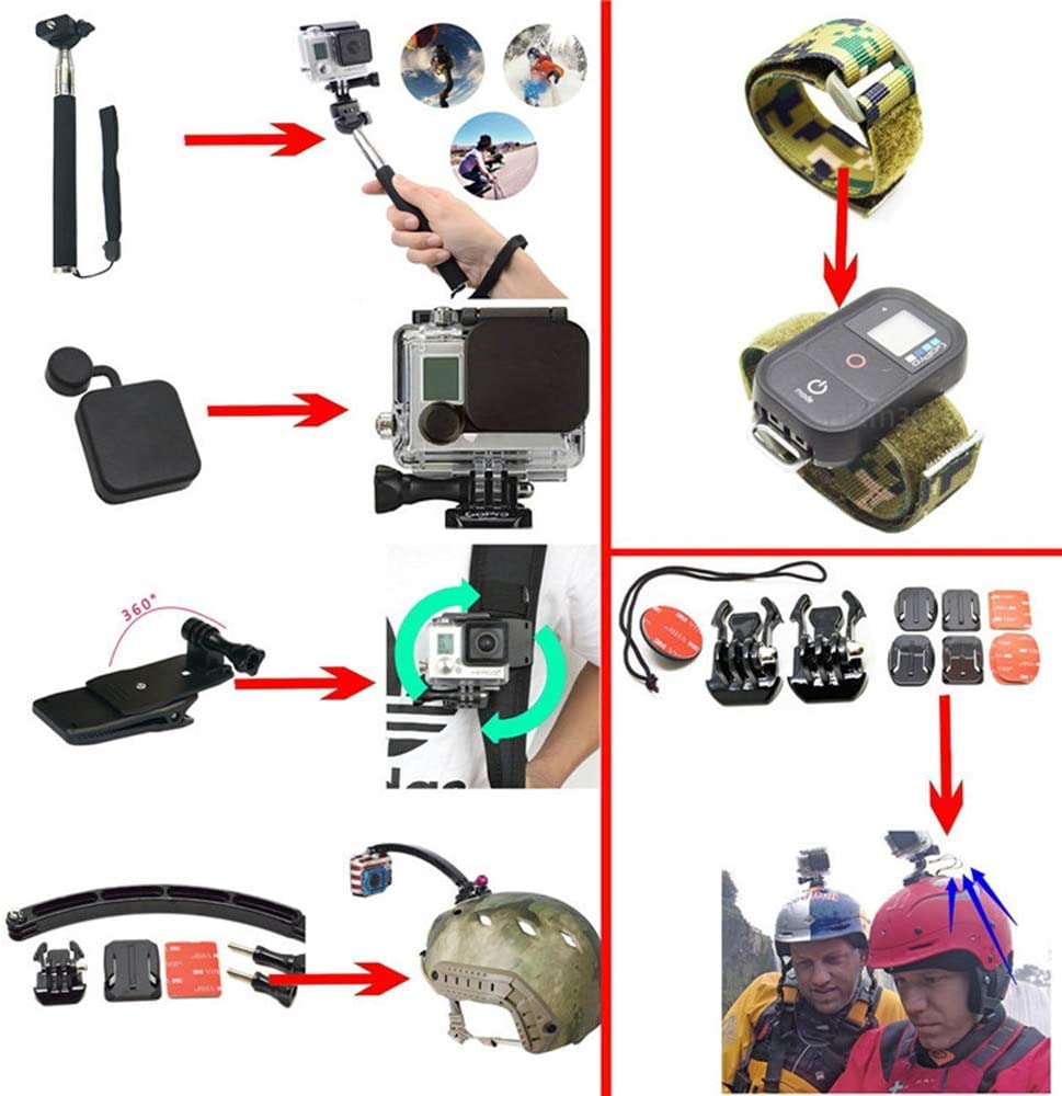 Yifant 53 in 1 Action Camera Kit Accessories for GoPro Hero 2018 GoPro Hero7 6 5 4 3 with Case//Chest Strap//Octopus Tripod