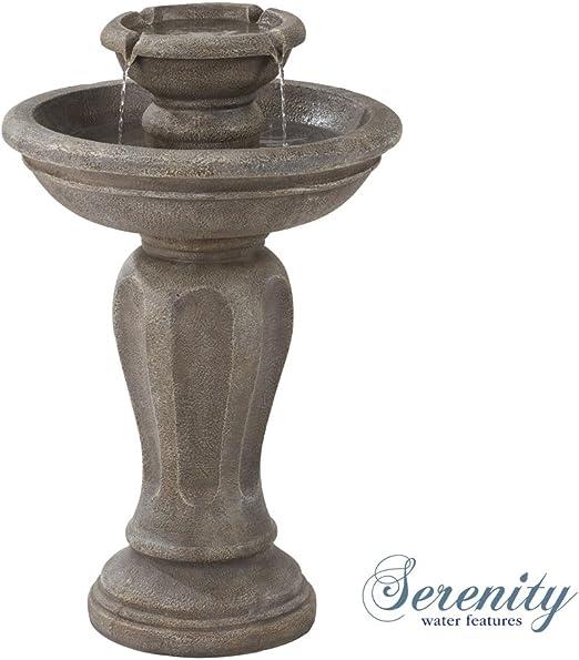 Fuente de Agua con energía Solar para pájaros, Efecto Piedra Duradera, 2 Niveles de Cascada para jardín, Patio y Exterior.: Amazon.es: Jardín