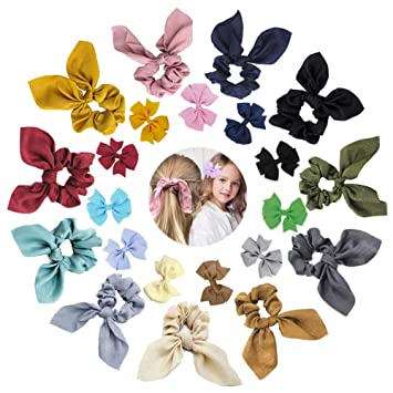 20 Mixed Color Flower Rabbit Bunny Ears Elastic Hair bands Ponytail Holder