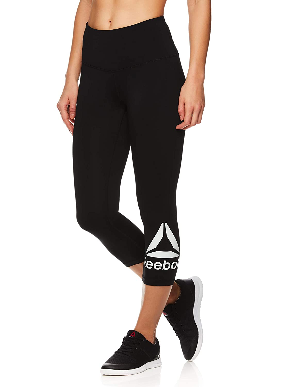 Cropped Performance Compression Tights Reebok Womens Capri Workout Leggings w//High-Rise Waist