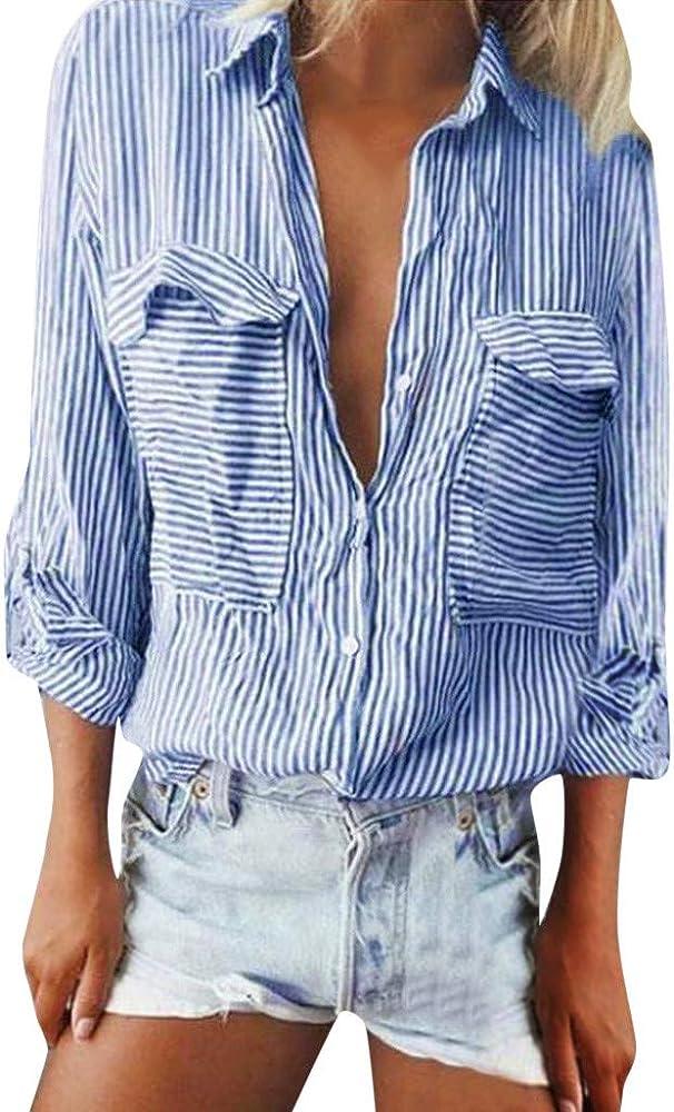 AIni Camisa Mujer Raya Camiseta Delgada OtoñO Camisa con Botones Top De Manga Larga con Cuello En V Casual Suelto Blusa Stripe Shirt Camisa AlgodóN Blusa Elegante Manga Larga Verano Primavera Shirts: