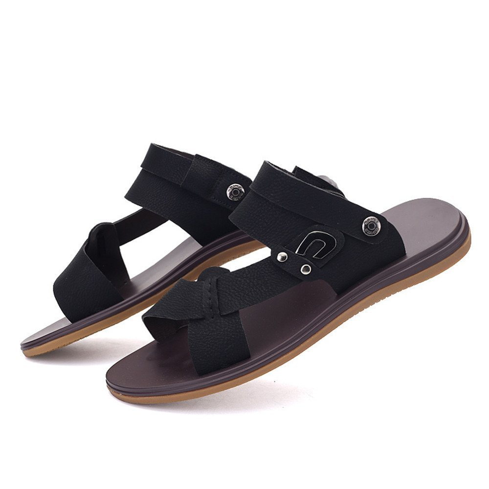 af5bee569 Men s Faux Leather Hiking Walking Summer Beach Slippers Casual Non-Slip  Sole Durable Outsole Footwear Sandals Shoes Adjustable Backless Sandals for  Men