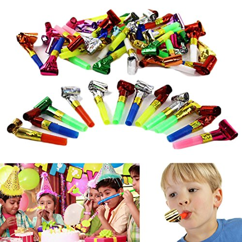 Party Blowing Foil Whistles - Pack of 24 Toy Cubby Party Favor Horn Blowers - Kids, Toddlers, (Blower Favors)