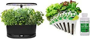 AeroGarden Bounty Basic Indoor Hydroponic Herb Garden, Black & Heirloom Salad Greens Seed Pod Kit, 6