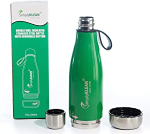 Easy to Clean and Load Ice Water Bottle, Stainless Steel; Opens Top and Bottom; Compatible with Hot and Cold Beverages; 17 oz; Blue and Green Color Options