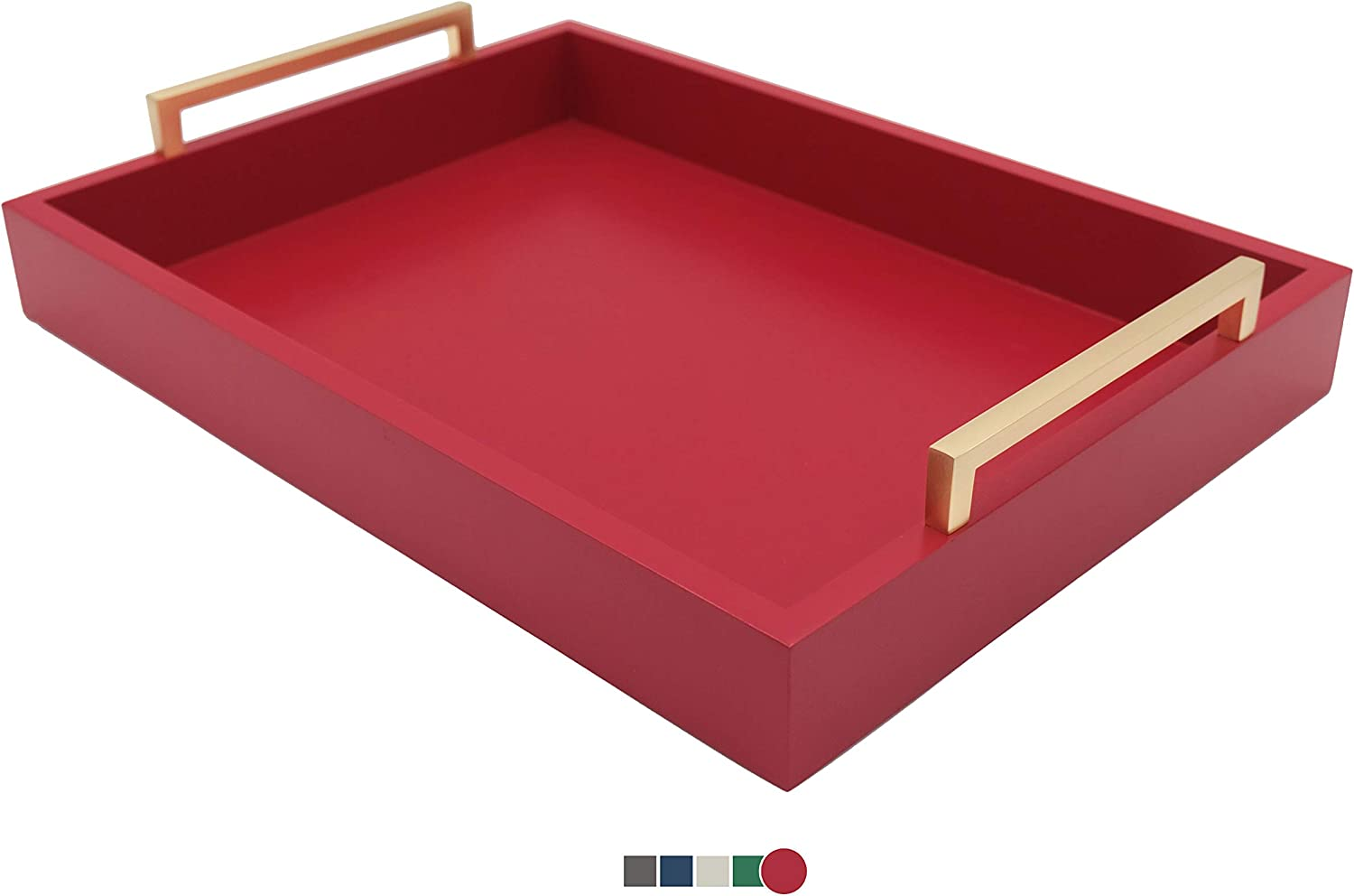 Montecito Home Decorative Coffee Table Tray - Ottoman Tray - Breakfast, Drinks, Liquor Serving Tray - from Farmhouse to Modern - Matte Finish - Champagne Gold Handles - Crimson Red