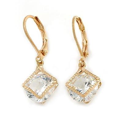 nouvelle qualité bébé invaincu x Boucles d'oreilles pendantes plaqué or avec petit zircon ...