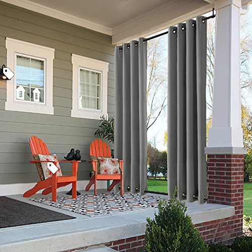 """ChadMade Windproof Outdoor Curtain with Top Bottom Grommet Grey 52"""" W x 96"""" L, Waterproof and Mildew Resistant Patio Cabana Porch Gazebo Panel Drapery (1 Panel)"""