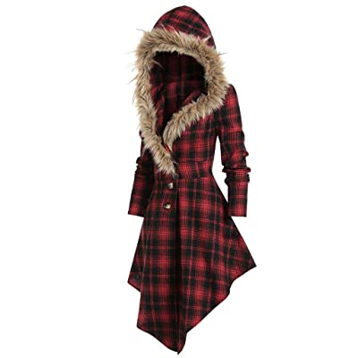 Sttech1 Women's Fashion Faux Fur Hooded Single Breasted Long Sleeves Trench Coat Asymmetric Wave Hem Wrap Coatwears: Clothing