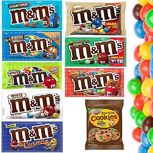 M&M's aus den USA - Erdnussbutter, Haselnussaufstrich, Karamell, Weiße Schokolade, Mandel, Brezel, Knusprige Minze + Cookies