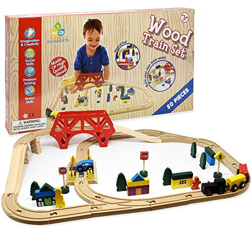 Engine Roundhouse Train Set - Number 1 in Gadgets Wooden Train Set, 50 Pieces, Compatible with Most Major Brands Like Thomas the Tank and Brio