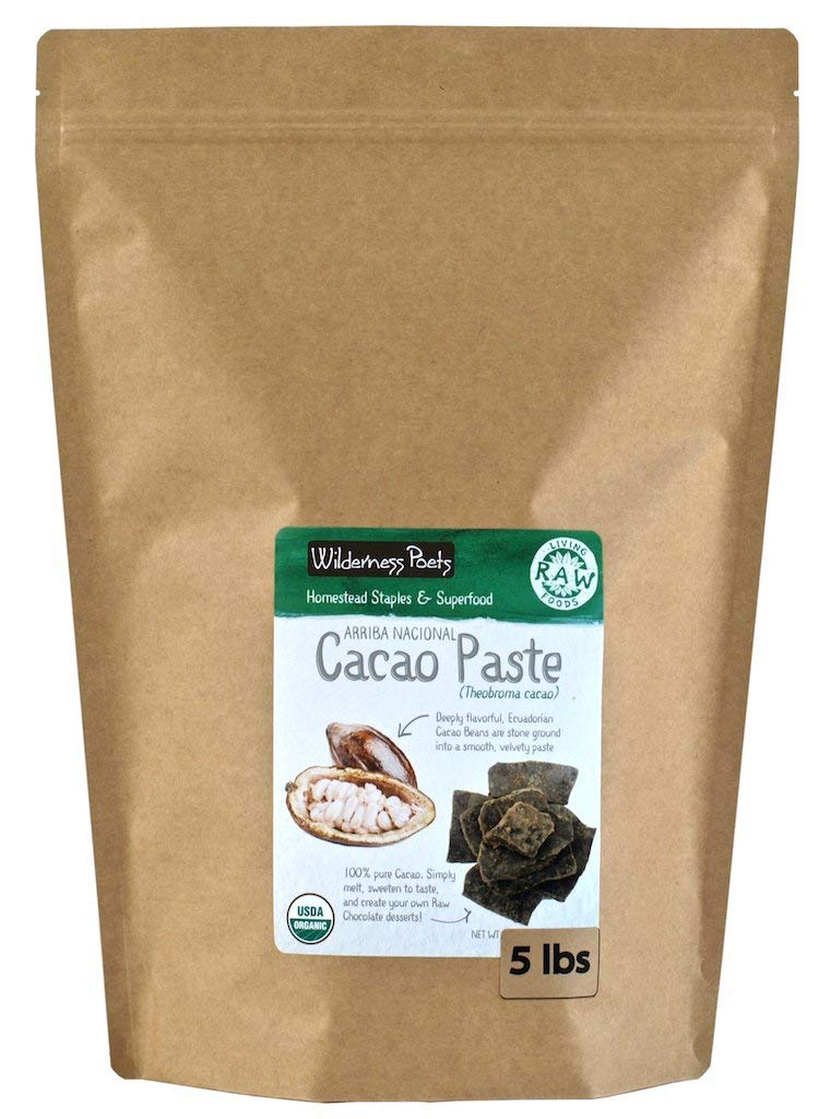 Wilderness Poets Organic Cacao Paste - Made from Stone Ground, Raw 100% Cacao Beans, 5 Pound (80 Ounce)