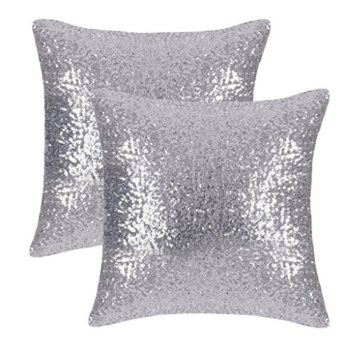 (PONY DANCE Silver Throw Pillows - Sparkling Sequins Decor Cushion Covers Glitzy Sequin Solid Throw Pillowcases for Party/Christmas, Hidden Zipper Design, 18 Inch Square(45 cm), Silver, Pack-2)