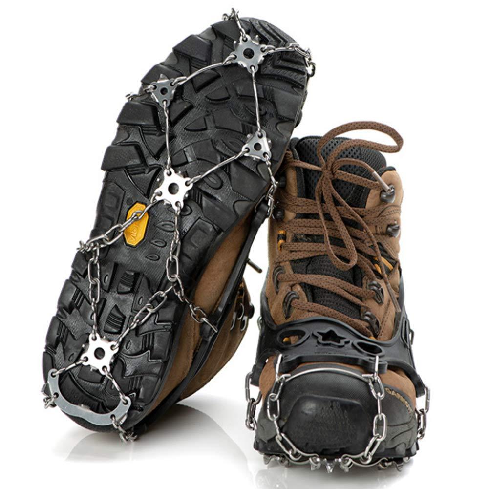 YAOBAO Traktionsklampen, Eisklampen mit 21 Spikes zum Gehen, Joggen, Klettern und Wandern auf Schnee, EIS, Schlamm, Sand und Nassgras