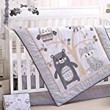 Woodland Friends 5 Piece Forest Animal Theme Baby Crib Bedding Set - Grey, Tan