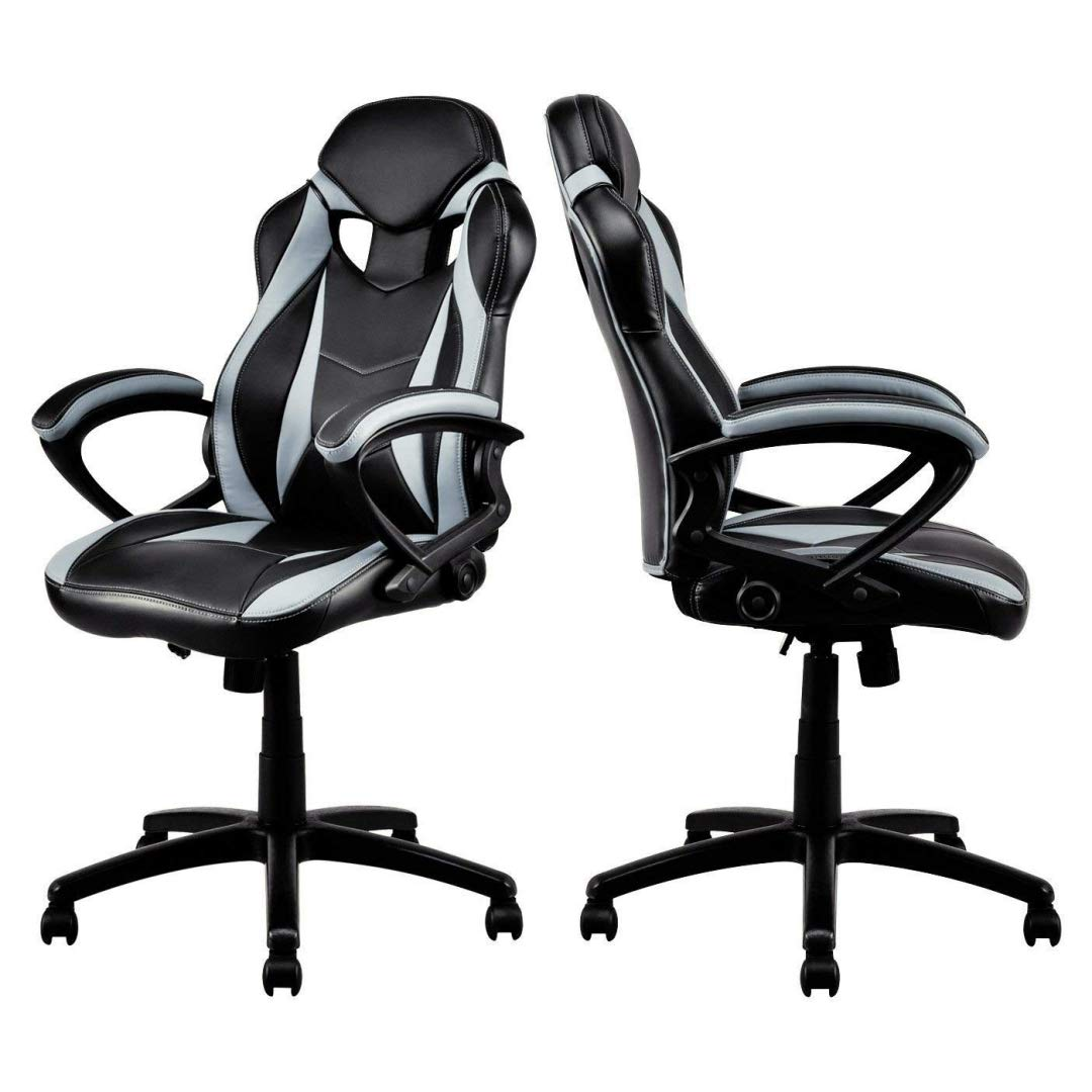 Modern Style High Back Gaming Chairs Comfortable 360-Degree Swivel Design Desk Task PU Leather Upholstery Thick Padded Seat Posture Support Home Office Furniture - Set of 2 Grey/Black #2123 by KLS14