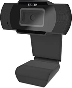1080P HD Webcam with Microphone, Webcam for Gaming Conferencing, Laptop or Desktop Webcam, USB Computer Camera, Free-Driver Installation Fast Autofocus Black