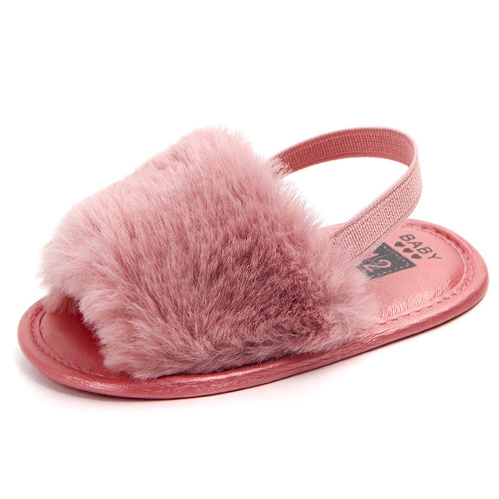 HONGTEYA Baby Girls Sandals Soft Soled Faux Fur Infant Toddler Summer Baby Moccasins Shoes Slippers (12-18 Months/5.12'', hotpink)