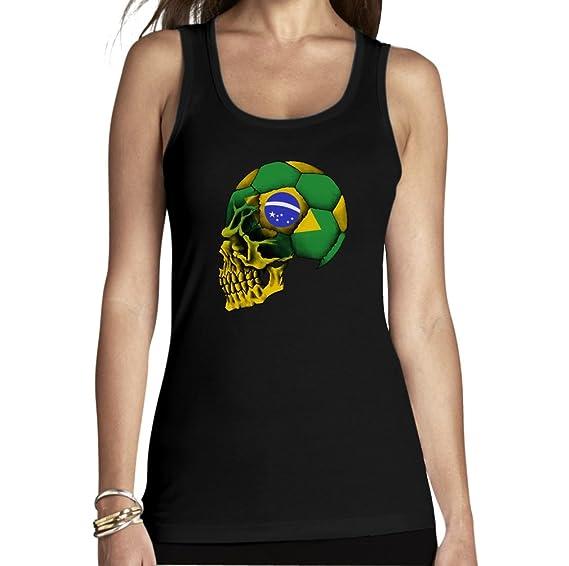 b8403d8ce707 Shirtgeil Brasilien Totenschädel Fußball - WM 2018 Fanartikel Frauen Tank  Top  Amazon.de  Bekleidung