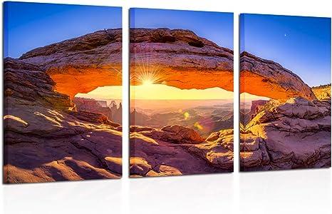 Kreative Arts Sunrise At Mesa Arch In Canyonlands National Park Near Moab Utah Usa Canvas Photography Print 3 Panel Art Frameless Canvas Print Wall Art Ready To Hang Posters