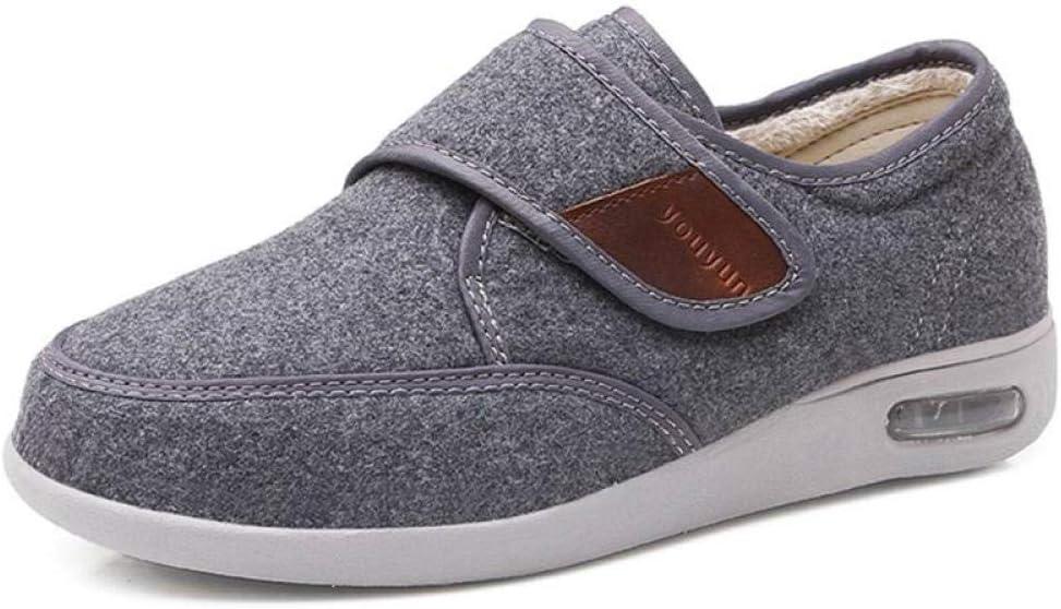 Nwarmsouth Zapatos Transpirables para diabéticos,Calzado para pies hinchados, Zapatos para diabéticos de Empeine alto-43_ Gris,Zapatos ortopédicos Ajustables