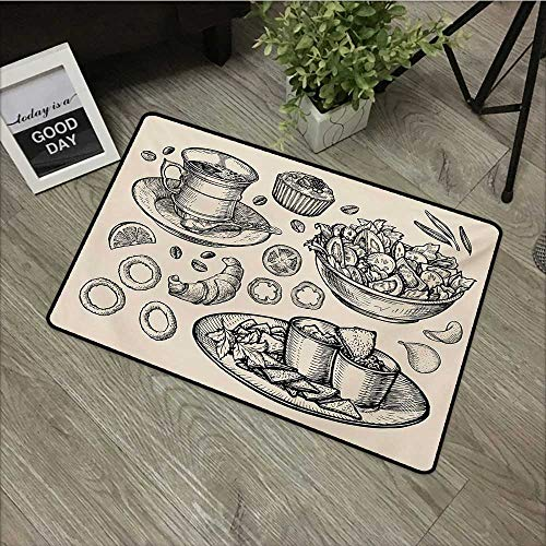 Clear printed pattern door mat W35 x L59 INCH Sketch,Nachos Croissant Tea Onion Rings and Muffins Monochrome Illustration of Food,Beige and Black Easy to clean, no deformation, no fading Non-slip - Onion Ring Dip