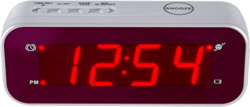 Timegyro LED Alarm Clock Easy Setting and Battery Operated Only Big Red Digits for Bedroom Living Room Travel