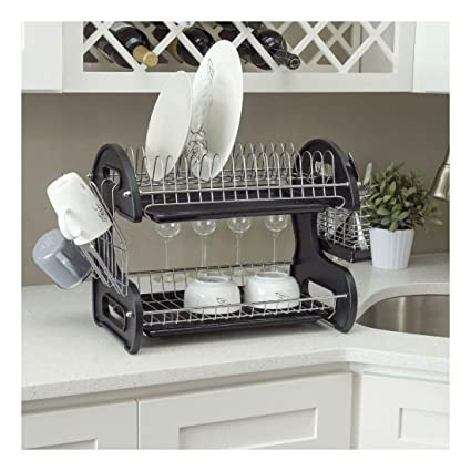 New 2 Tier Black Dish Drainer Drying Rack Washing Organizer- DD10249