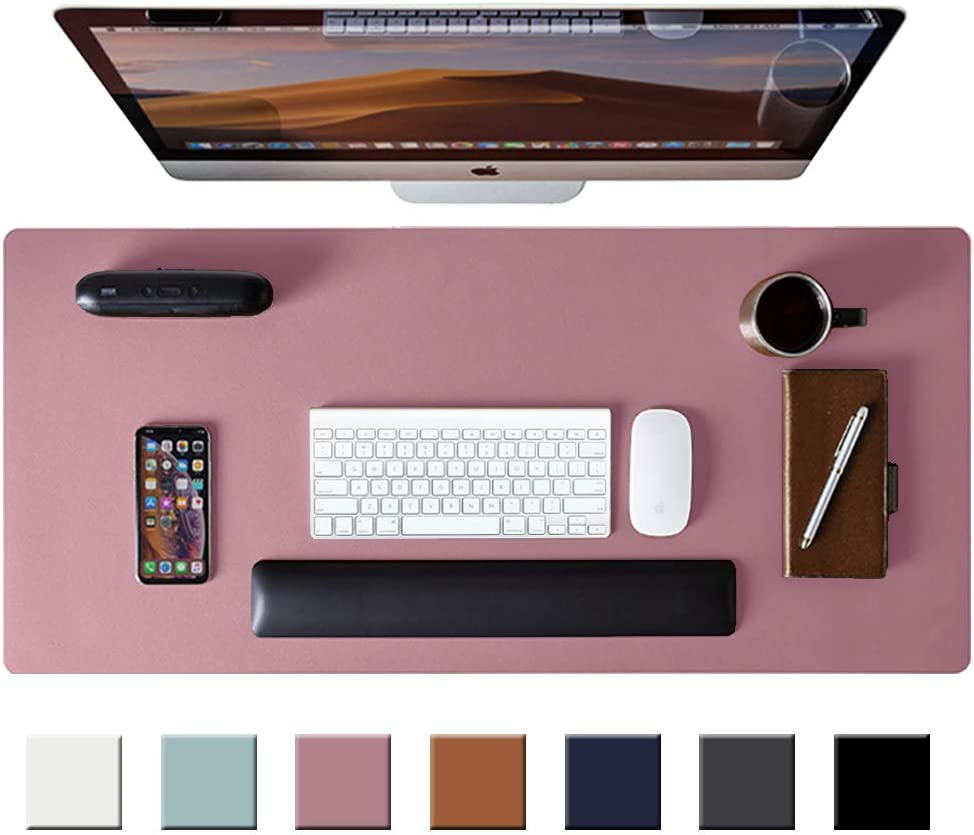 "Leather Desk Pad Protector,Mouse Pad,Office Desk Mat, Non-Slip PU Leather Desk Blotter,Laptop Desk Pad,Waterproof Desk Writing Pad for Office and Home (Purple,31.5"" x 15.7"")"